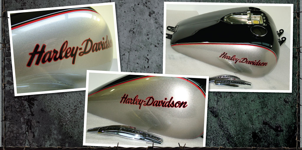 Metal badges removed and replaced with painted Harley logos