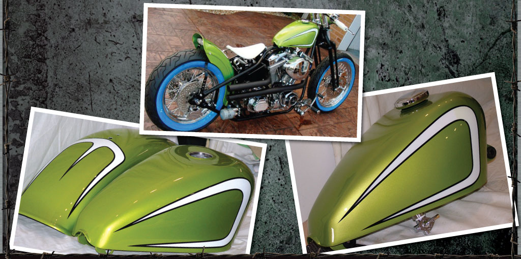 Harley Davidson custom painted bike. Lime green with white scallops and black pin stripe