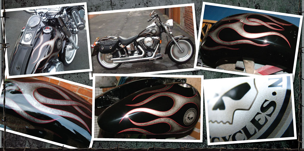 Paint supremacy Harley Davidson custom painted silver marble flames with red pin stripe