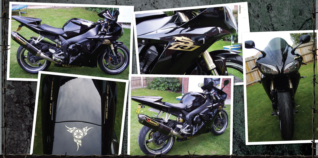 R1 black with gold dragon