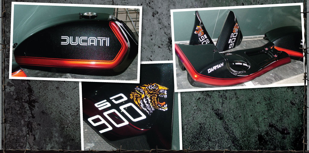 Xirallic Black And Red Candy Darmah 900SS With Painted On Tigers