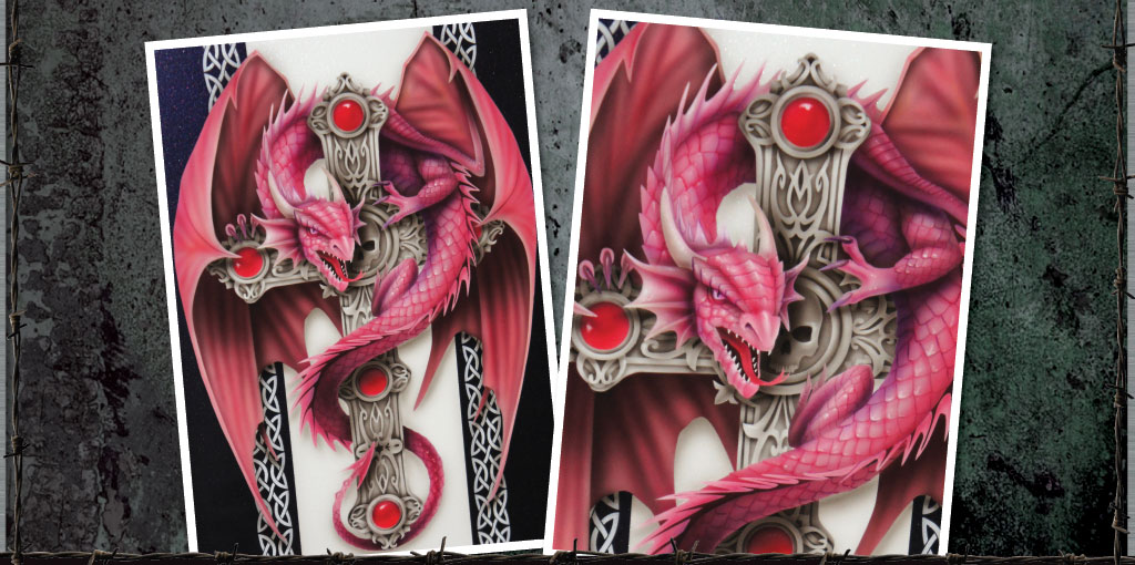 Anne Stokes inspired dragon on cross sample panel