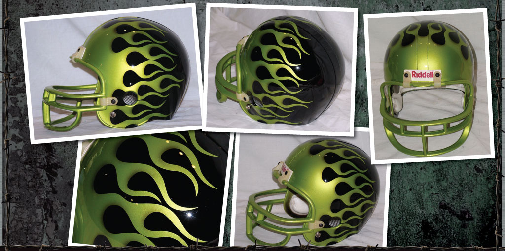 American football helmet painted black with lime green flames