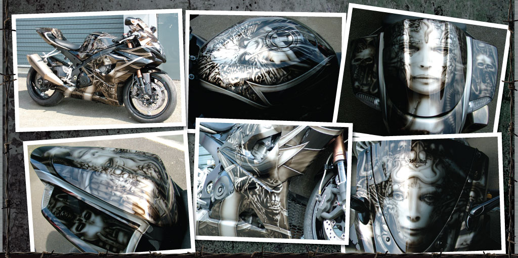 Gsxr 1000 totally transformed with this all over HR Giger theme!