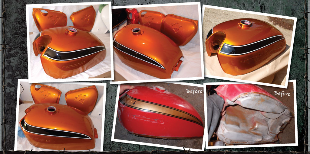 Classic Honda tank in orange and black panels with white pin stripe