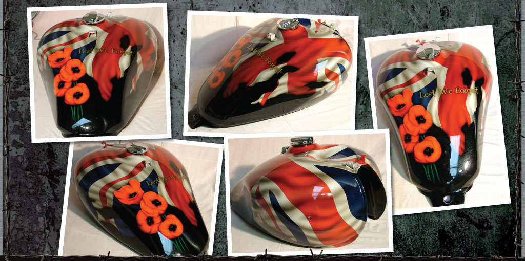 Lest we Forget. Triumph tank. Airbrushed poppies and UK flag