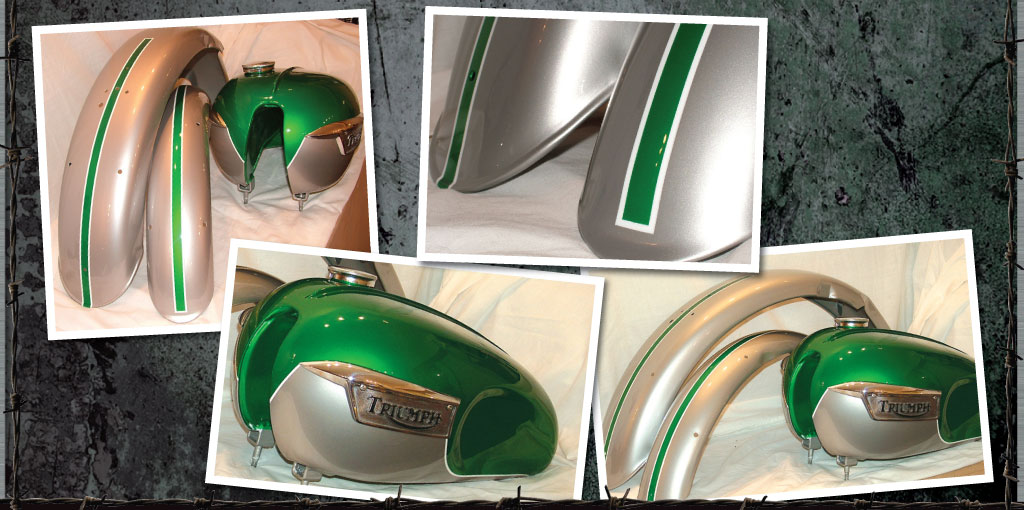 Classic Triumph set in green and silver